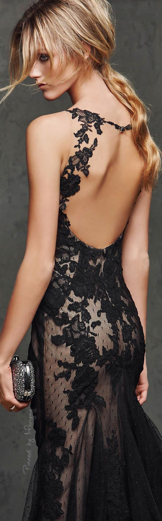 Pronovias 2016. Black lace maxi prom dress. women fashion outfit clothing style apparel @roressclothes closet ideas
