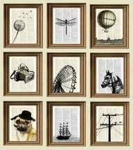 feed old book pages through a printer to make unique silhouette artWall Art, Ideas, Silhouette Art, Book Art, Old Book Pages, Silhouettes Art, Bookpages, Prints, Old Books