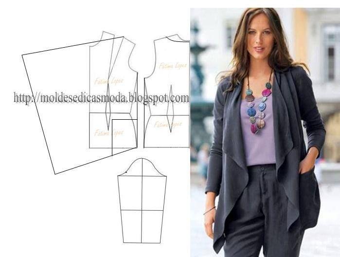 Modelagem de blusa estilo casaco. Fonte: https://www.facebook.com/photo.php?fbid=719726894722918set=a.262773027084976.75978.143734568988823type=1theater