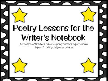 Here is everything you need to teach a unit on poetry during your writer's workshop time.  Each page has a two notes specially sized to fit a typical notebook page.  Less copying and wasted paper!  Use these notes to introduce a variety of poetic tools/devices and use them as a springboard for their own writing.Included in the 14 page document are:HaikuTankaLimericksCinquian3 Word Model Poems4 Line Reaction Model PoemsOnomatopoeiaMetaphorSimile