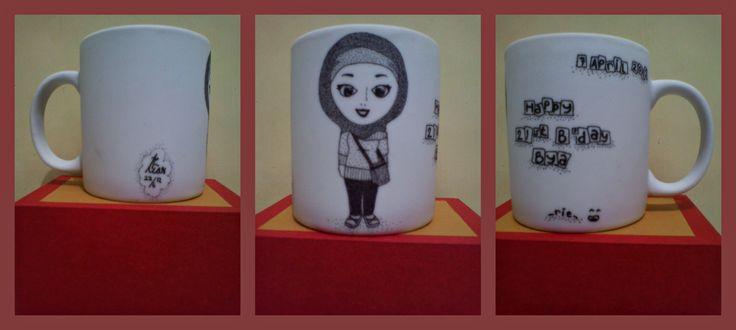 pointilis painting mug #karikatur #b