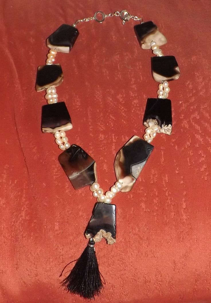 black and coffee agate slabs with FWP necklace