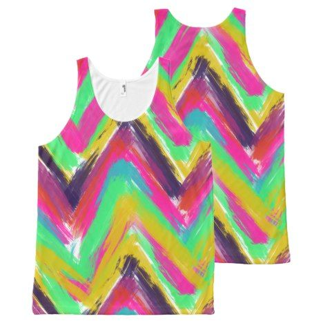 Bohemian multicolor oil paint chevron pattern All-Over-Print tank top #chevron #pattern #tanktops