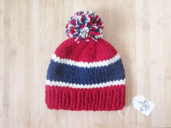 dbbd1a89d55 Montreal Canadiens Hat - Canadiens de Montréal Toque - Vintage style pure  wool pompom knit hat - Montreal Canadiens Beanie - Unisex hat
