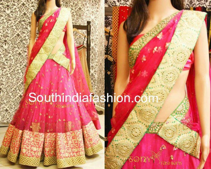 Elegant Bridal Half Saree ~ Celebrity Sarees, Designer Sarees, Bridal Sarees, Latest Blouse Designs 2014