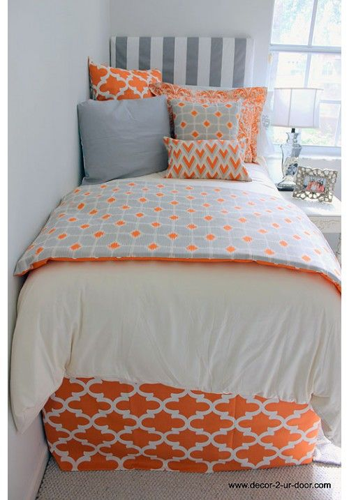 Tangerine & Grey Designer Teen & Dorm Bed in a Bag | Teen Girl Dorm Room Bedding