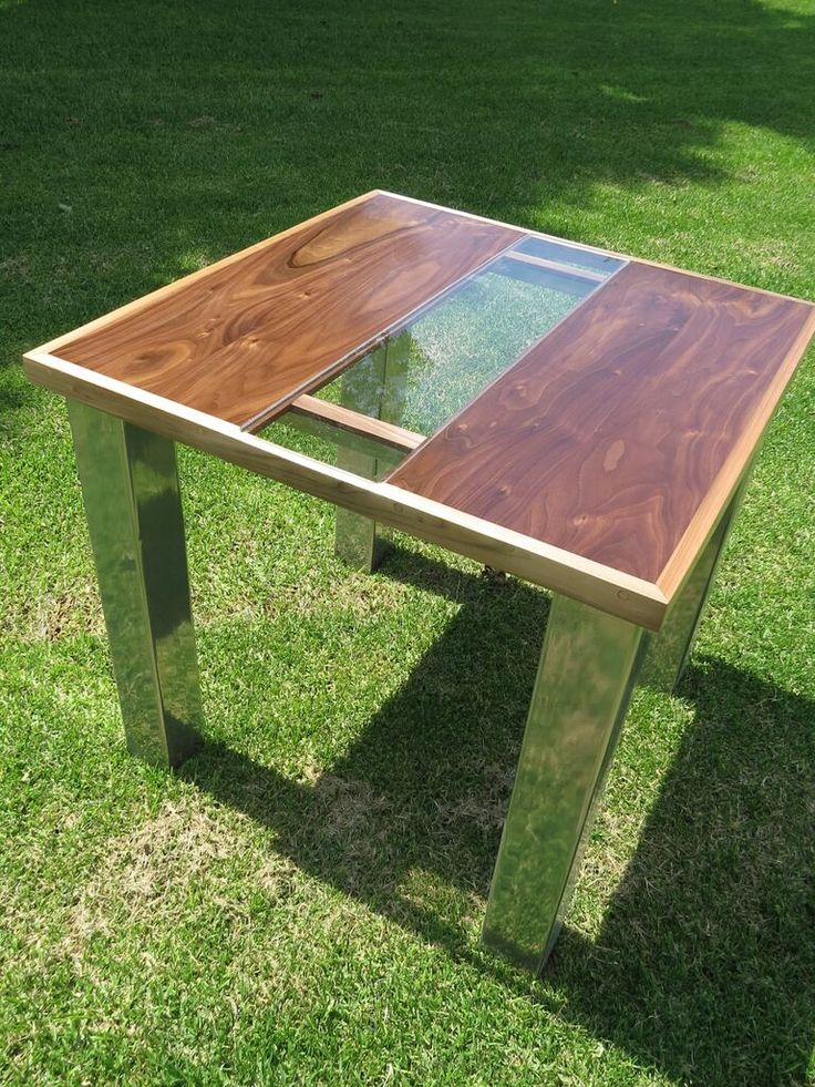 Walnut/Chrome table with glass insert