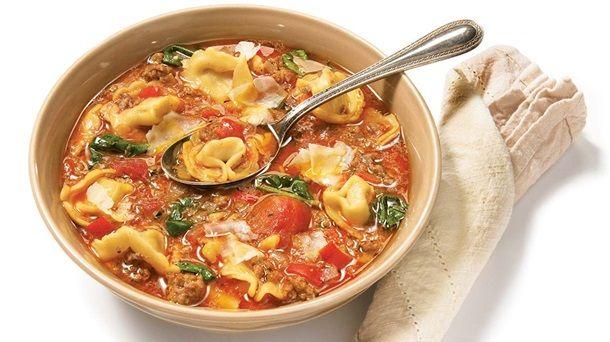 Soupe facile aux tortellinis #IGA #Recettes #Soupe