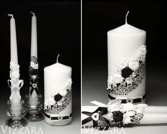 Black And White Wedding Unity candle set Wedding unity candle set Personalized unity candle Ceremony unity candles set Wedding Unity Candle
