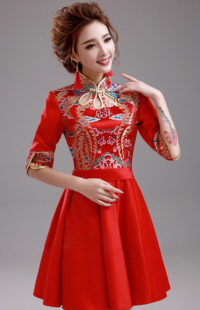 Elegant Red Cheongsam Top Chinese Wedding Dress