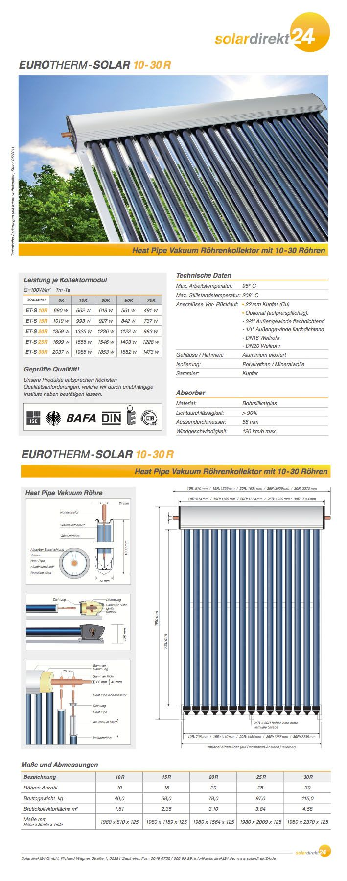 Datenblatt zu unseren Eurotherm Kollektoren  #Eurotherm-Solar #Solarthermie #Vakuumröhrenkollektoren