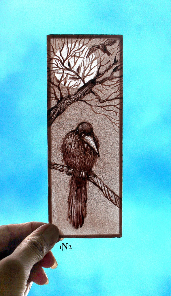 Stained Glass Window small panel, kiln fired, Hand painted Bird, 1N2. $40.00, via Etsy.