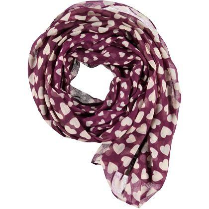 Lila Schal mit Herzen 29,95€  ♥ Hier kaufen:http://www.stylefruits.de/schal-mit-herz-print-passigatti/p4595529 #Schal#Herz#Passigatti