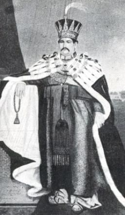 Muhammad ali Shah (ruled 1837-42) wearing the crown of the Nawabs of Awadh as depicted in the Nawabs' coats of arms
