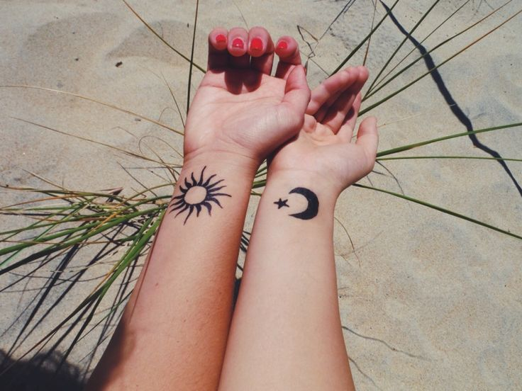 small sun and moon tattoo #ink #girly