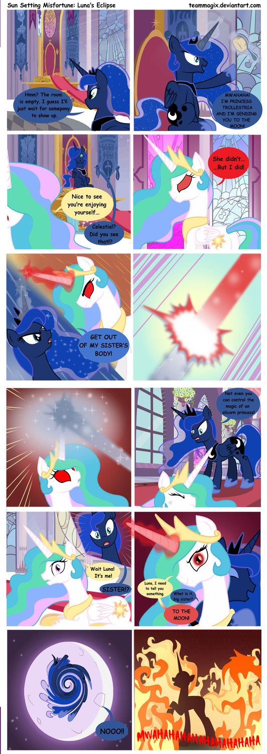 Sun Setting Misfortune MLP Comic: Luna's Eclipse by teammagix......... number 6