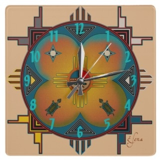 Southwestern Style Square Wall Clock