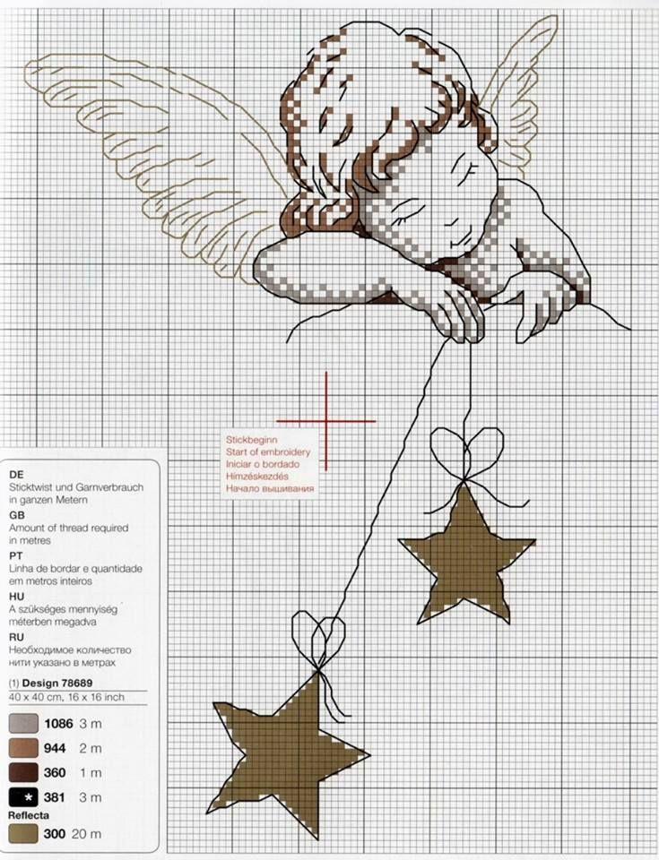 Cross-stitch sleeping angel w/ fabric stars ~ way sweet! Maybe a few as ornies? MW 3/23/16