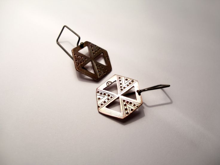 HEXAGON EARRING: HIVE WISDOM hand cut copper & sterling silver by Jessica Jubb