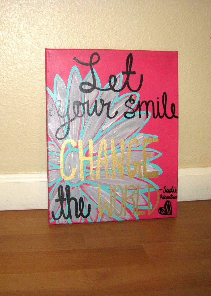 Let Your Smile Change The World, Sadie Robertson, Encouraging Quote, Wall Hanging, Hand Lettered, Duck Commander, Canvas Quote by RestoreandSparkle on Etsy