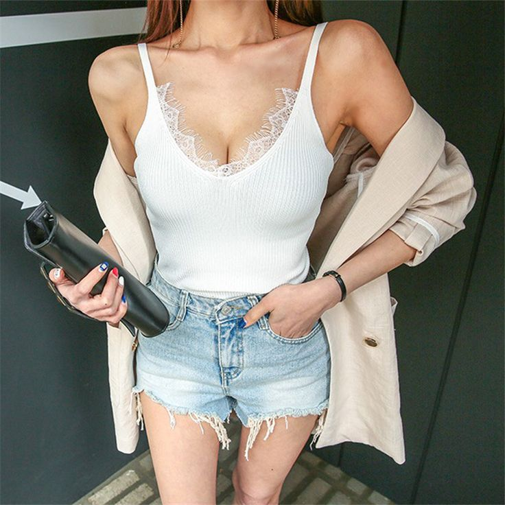 2017 Lace Knitted Tank Tops Female Sexy V neck Vest Hight Qualite Solid Club Tops Women Apricot Beige Cotton Polyester Tank Top-in Tank Tops from Women's Clothing & Accessories on Aliexpress.com | Alibaba Group