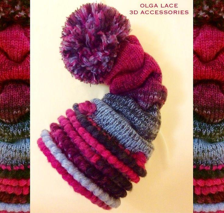 Купить или заказать 3D шапка - колпак от Olga Lace в интернет-магазине на Ярмарке Мастеров. Вязаная 3D шапка - колпак с большим помпоном от Olga Lace. Связана из объёмной тёплой пряжи. Внутри двойная мягкая вязаная подкладка. Цвет: фуксия, серый, темно - серый меланж. Модно, тепло, прикольно и стильно!