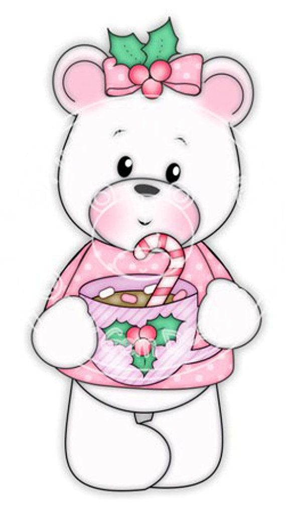 Digi Stamp Polly with Hot Choc. Makes Cute Papercraft and Digital Scrapbooking Projects. Christmas Cards. Baby Polo Bear