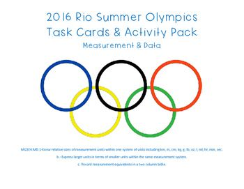MEASUREMENT & DATA FREEBIE Tap in on your students' excitement about the 2016 Rio Olympics using data from the Men's 62 kg Weightlifting tournament. This FREE download includes 3 Differentiated Activity Sheets incorporating the conversion of kilograms and grams. Standards included: MGSE4.MD.1b and MGSE4.MD.1c.  Enjoy your free download and remember to visit my store for many other great ideas!