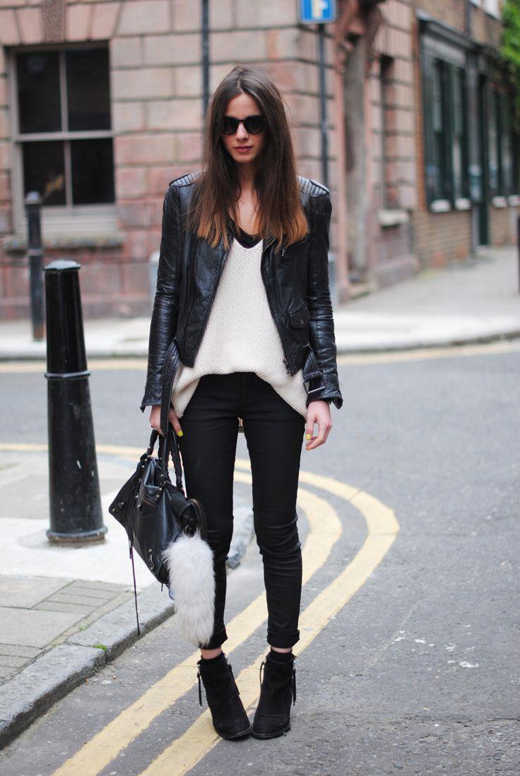 Leather jacket, ankle boots, cream knit FASHIONVIBE
