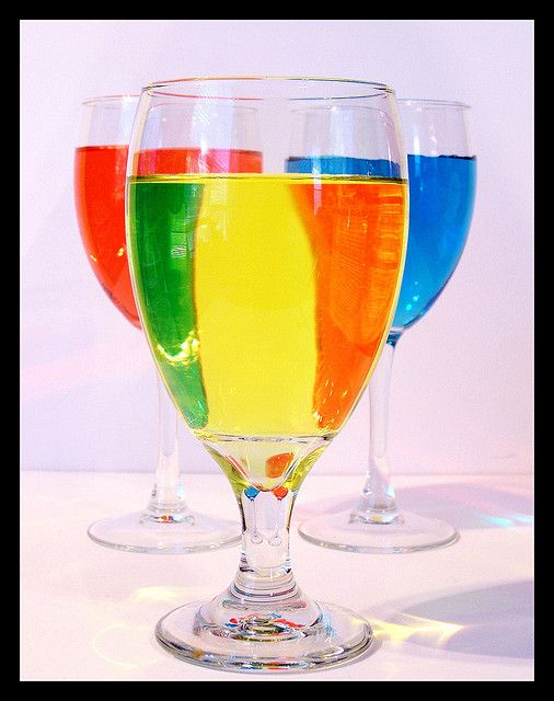 Refraction | Flickr - Photo Sharing!... I know this is refraction but great idea for a color mixing lesson! I would use plastic containers with lids.