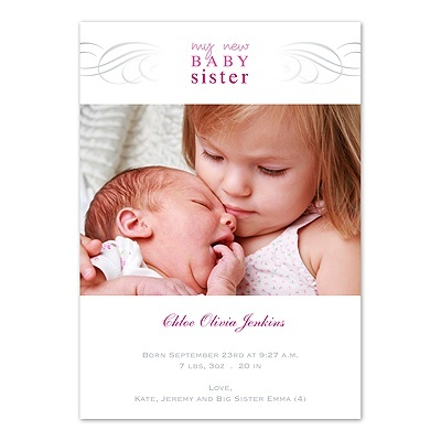 Baby Sister Photo Birth Announcement Newborn Big Infant