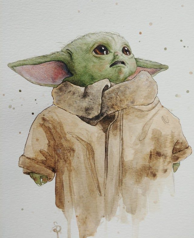 Baby Yoda Painted Using Watercolours And Fine Liners By Me Pics Star Wars Drawings Yoda Drawing Yoda Art