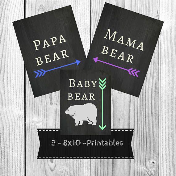 Momma bear Pregnancy Reveal Chalkboard Announcement Papa