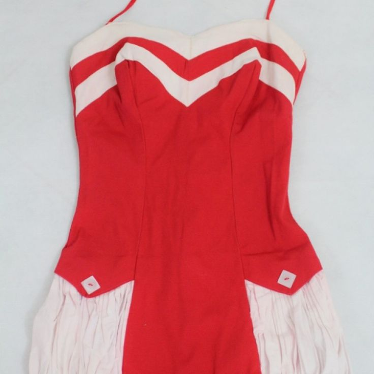 Vintage Fire Engine Red Bathing Suit on Velvet Rose's Pin Up Dressing Room - The vintage shop tailored to you #Vintageswimwear  #ChristmasPresent Free Postage within Australia