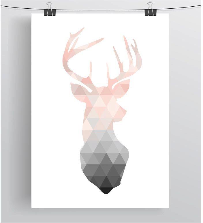 Blush Deer Print Deer Wall Art Deer Poster by PrintAvenue on Etsy