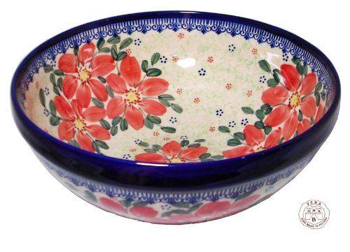 Bol Céramique Poterie polonaise décorée à la main Ø23cm, H=9.5cm, V=2.0 Liter Dek: 076-U-070: Amazon.fr: Cuisine & Maison