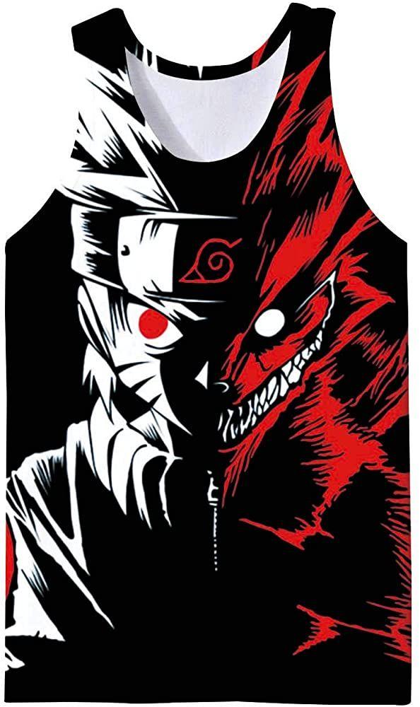 Pemela Mens Cool Naruto Tank Tops 3D Anime Uzumaki Print Tanktops Sleeveless Muscle Workout Casual Tees Tshirts S-XXL