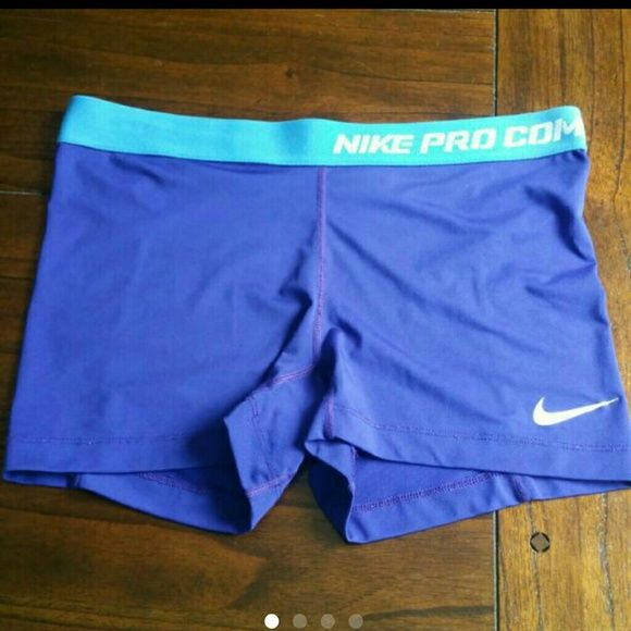 Women's LG Nike Pro Combat Dri-Fit Shorts Compression shorts. Bright blue with light blue band. In great shape. Nike Shorts