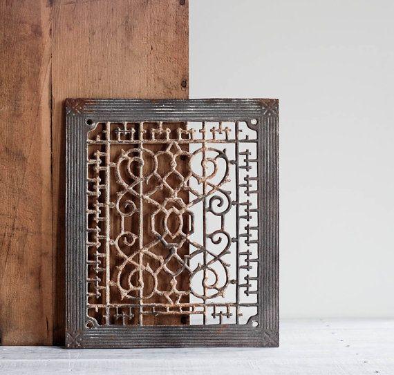 Antique Heat Register Cover / Ornate Cast Iron Grate / Architectural Salvage  · Cabinet DoorsVent ... Part 36