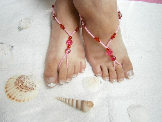 Beaded Barefoot Sandals  Pink and Red  Foot by GlamorousSparkle, €15.00