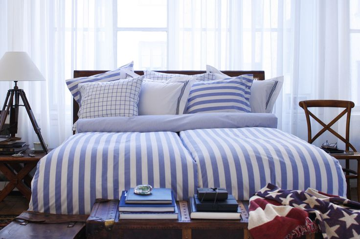 Big Stripe Blue Bedding - 100% Percale Cotton, 200 TC.  By Newport Collection
