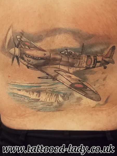 Spitfire over he cliffs of Dover Tattoo. by Tattooed Lady www.tattooed-lady.co.uk