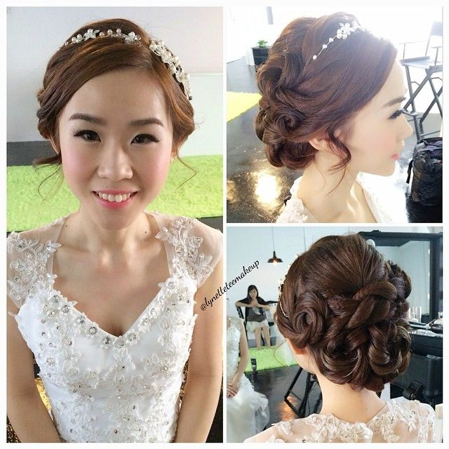 Wedding day makeup and hairdo, princess twisted updo Bride ...