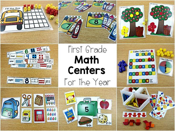 math centers for the year, first grade math centers, a year's worth of math centers, math centers guided math, math rotations