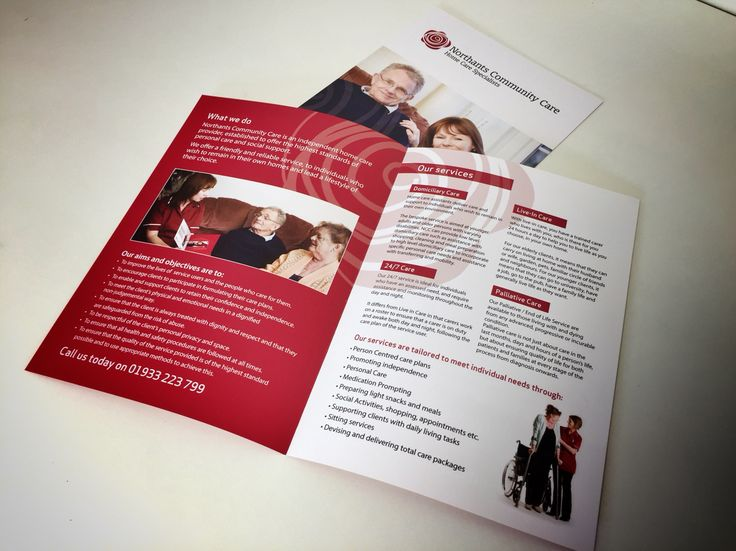 A5 4pp Leaflets for Northants Community Care digitally printed in full colour to 170gsm, creased & folded.