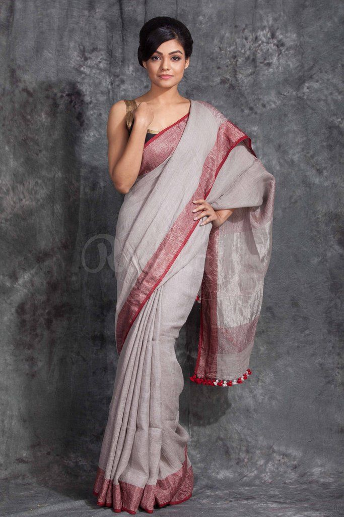 Grey Linen Saree With Maroon Border-LN061750146