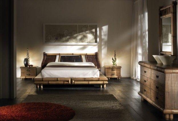 Camera da letto con mobili in bambù - Letto dal sapore orientale per arredare una camera da letto in stile etnico.