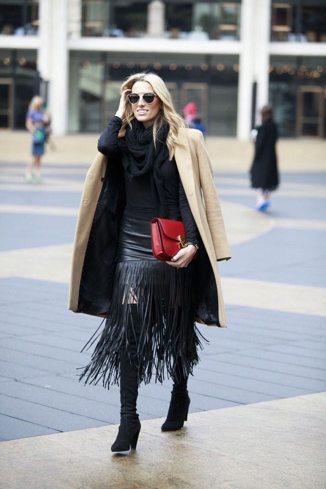 Love the textures and layers, black with camel... eclectic style! Business Bohemian!!! 20 Ways to Interpret 1970s Style in2015 | StyleCaster