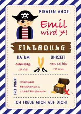 Lustige Einladung Zum 7. Kindergeburtstag Für Kleine Piraten Oder Zur  Schatzsuche. Nur Eigene Texte