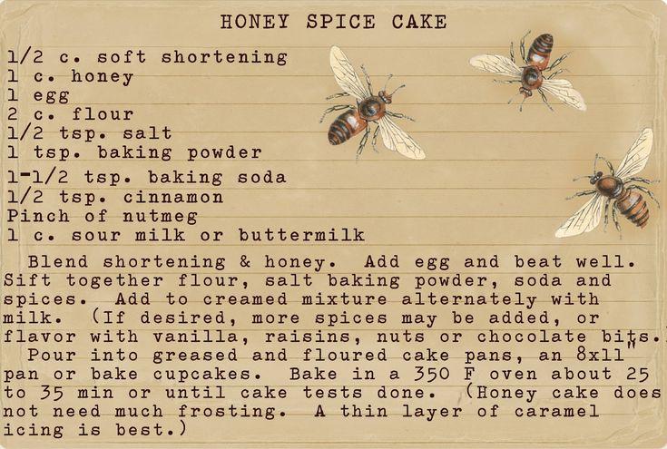 Vintage recipe ~ Honey Spice Cake